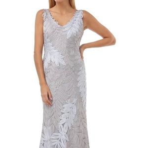 JC Collections Ice Gray Leaf Soutache Trumpet Gown